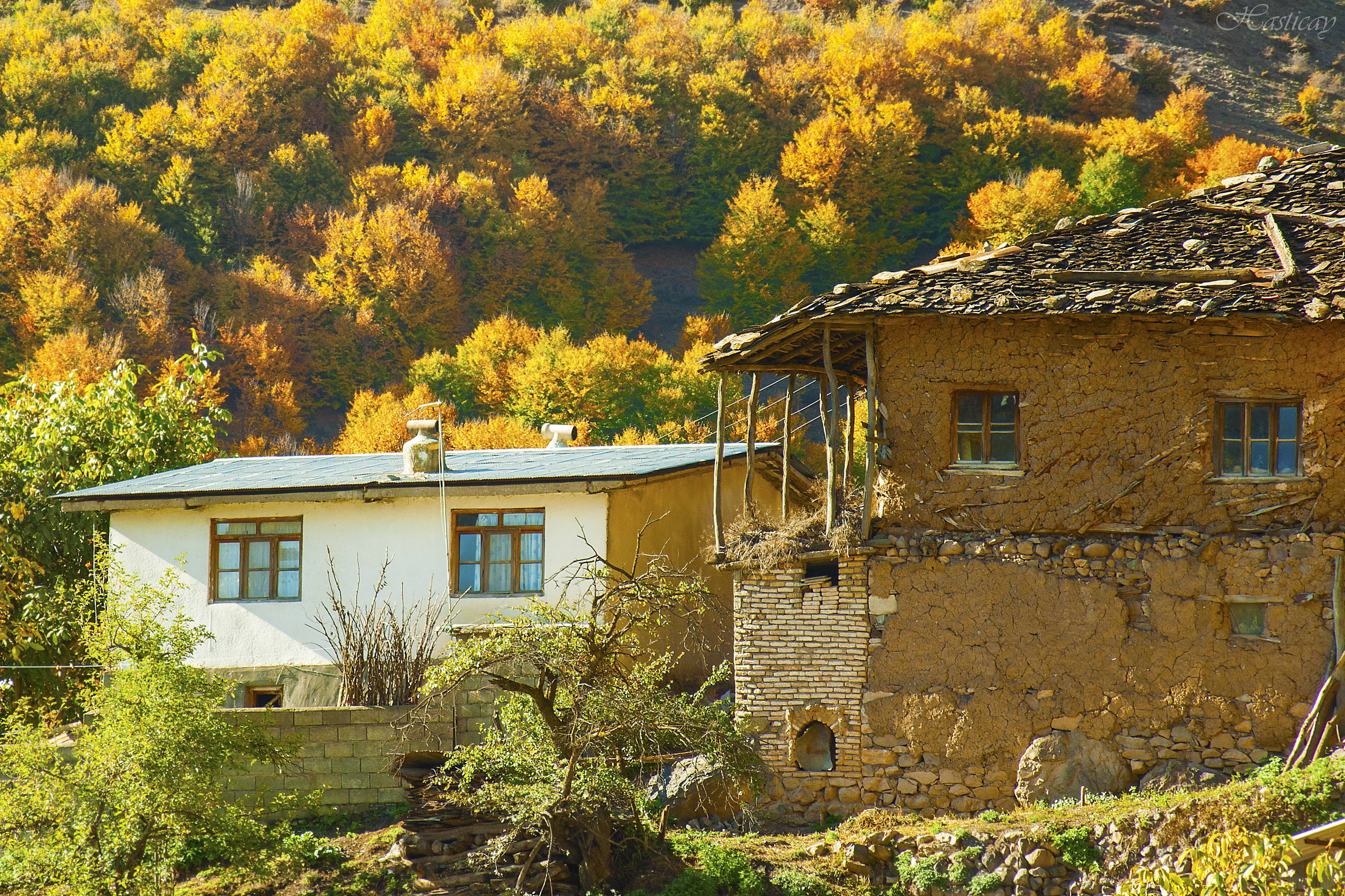 Autumn in a village far from urban crown and mess! Nater village located on top of mountains in Chaloos, Mazandaran, Iran