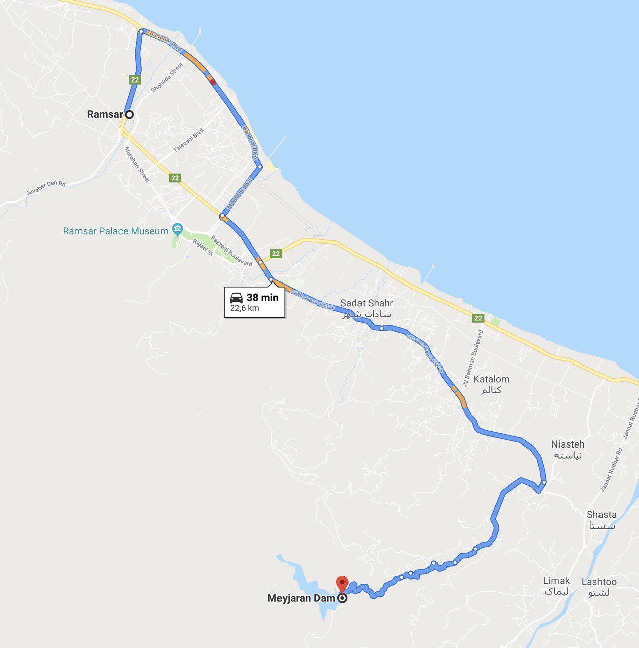 مسیر رامسر به سد میجران