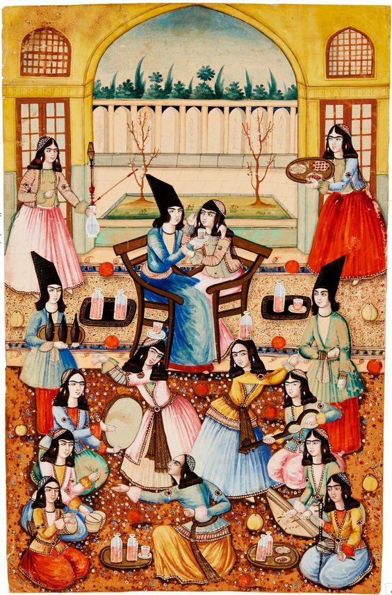 مجلس بزم زوج جوان، حدود ۶۰-۱۸۵۰ ترسایی، آبرنگ و گواش